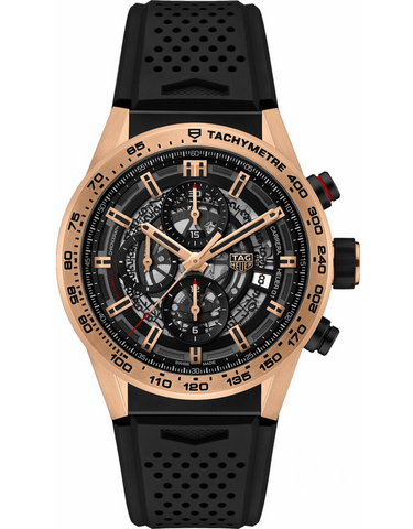 Tag Heuer Carrera Calibre Heuer 01 43mm Automatic Skeleton Chronograph 18K Rose Gold Men's Watch