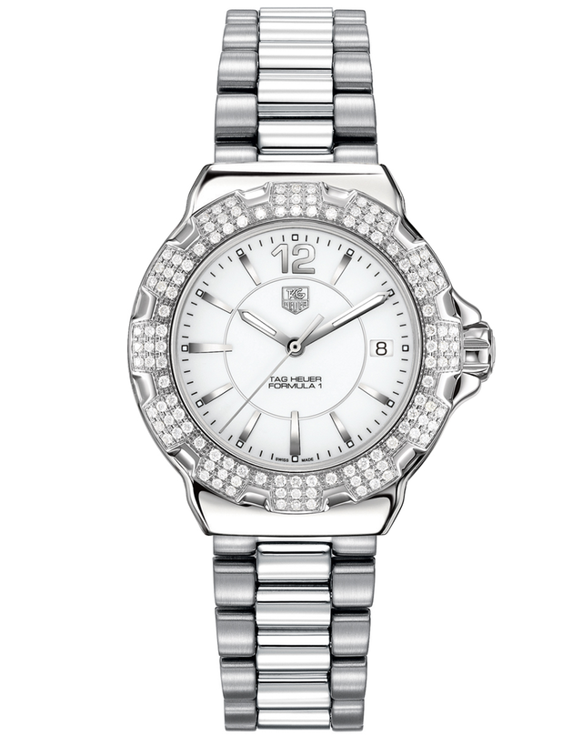 TAG HEUER FORMULA 1 QUARTZ WHITE DIAL DIAMOND STEEL WOMEN'S WATCH
