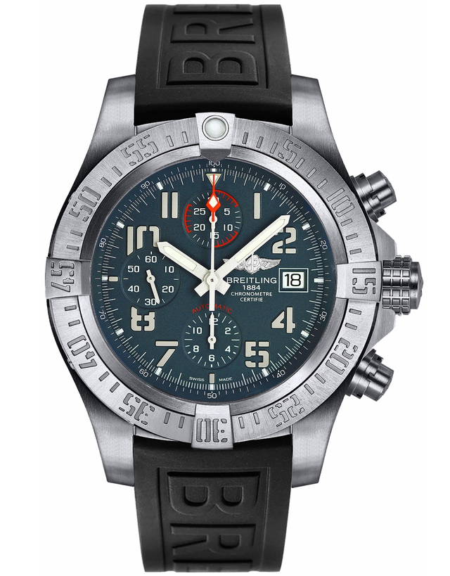BREITLING AVENGER TITANIUM GREY DIAL BLACK RUBBER MEN'S WATCH