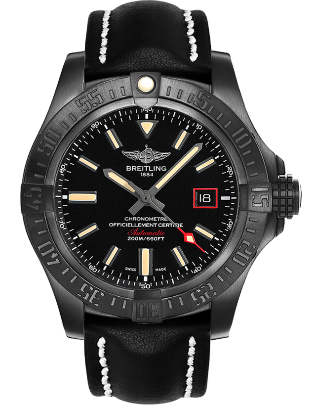 BREITLING AVENGER AVENGER BLACKBIRD 44 SPECIAL EDITION BLACK TITANIUM CASE BLACK LEATHER CALF STRAP MEN'S WATCH