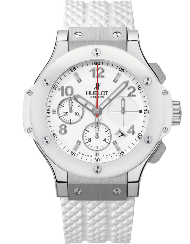 Hublot Big Bang 41mm White Ceramic Chronograph Rubber Strap Unisex Watch