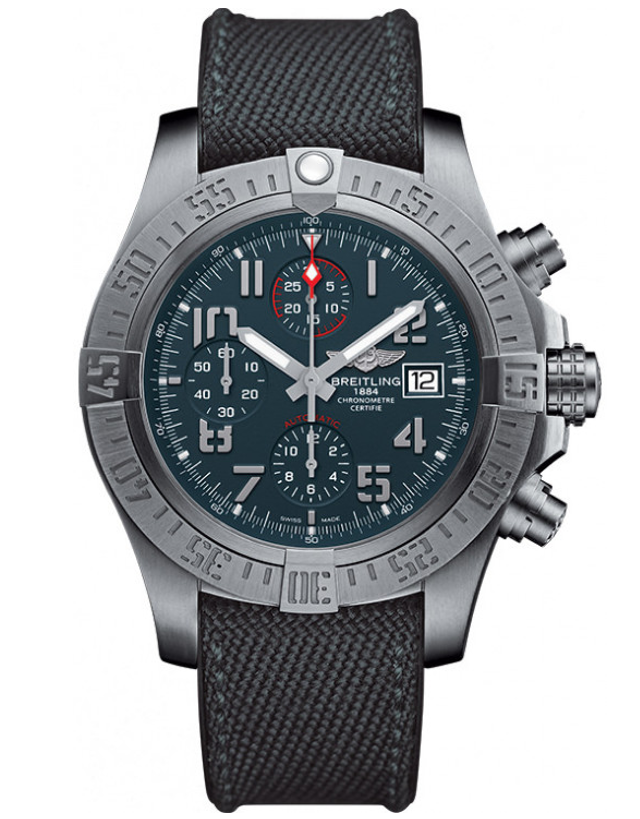 Breitling Avenger Bandit Titanium Grey Dial Anthracite Military Strap Men's Watch