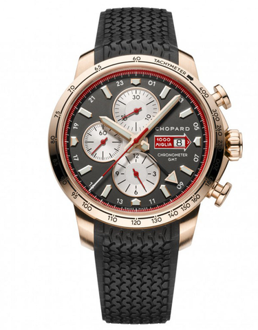 CHOPARD MILLE MIGLIA AUTOMATIC CHRONOGRAPH 2013 EDITION 18K ROSE GOLD RUBBER STRAP MEN'S WATCH