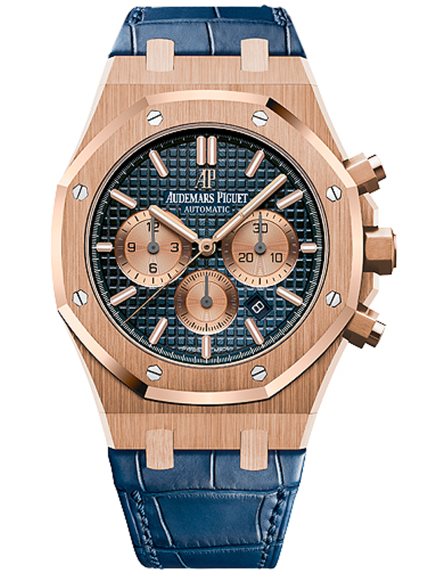 AUDEMARS PIGUET ROYAL OAK 18K ROSE GOLD BLUE AUTOMATIC