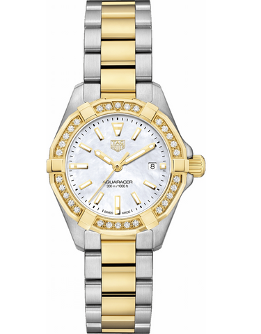 Tag Heuer Aquaracer Lady 300M 27mm Gold & Steel Diamond Bezel Women's Watch