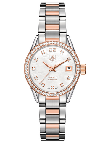 Tag Heuer Carrera Automatic Rose Gold & Steel Diamond Women's Watch