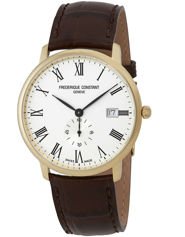 FREDERIQUE CONSTANT SLIMLINE WHITE DIAL MEN'S BROWN LEATHER WATCH
