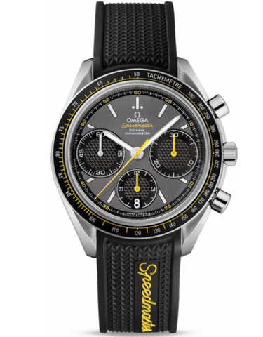 OMEGA SPEEDMASTER RACING CHRONOMETER GREY CHRONOGRAPH BLACK RUBBER STRAP MEN'S WATCH