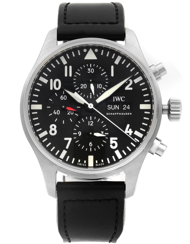 IWC Pilot's Chronograph Black Chronograph Day-Date Leather Strap Men's Watch