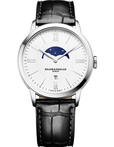 Baume & Mercier Classima Quartz White Moonphase Dial Leather Strap Men's Watch