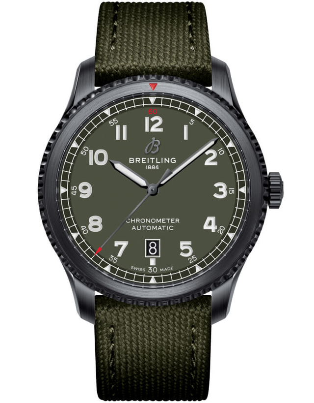Breitling Navitimer 8 Automatic 41 Curtiss Warhawk Green Dial Green Canvas Strap Men's Watch
