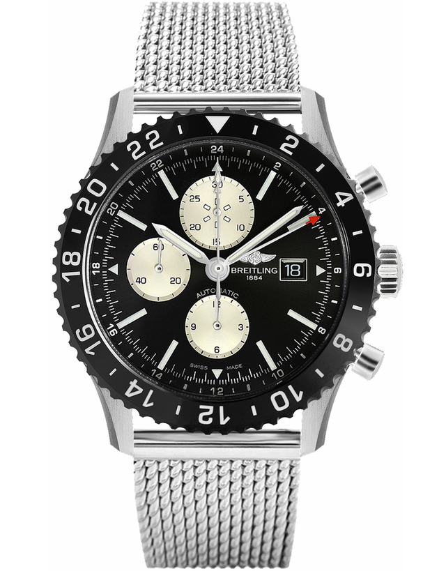 Breitling Chronoliner Ceramic Pilots Chronograph GMT On Mesh Band Men's Watch