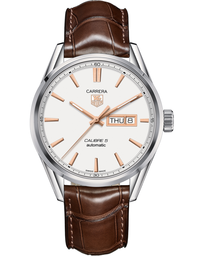 Tag Heuer Carrera Calibre 5 Day-Date Automatic Silver Dial Brown Leather Strap Men's Watch