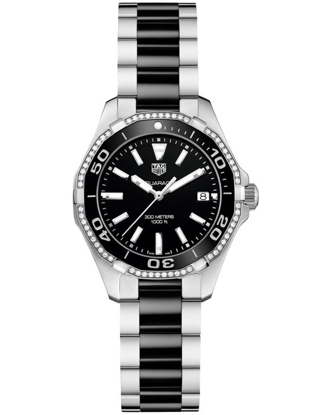 Tag Heuer Aquaracer Lady 300M 35mm Black Ceramic Diamond Women's Watch