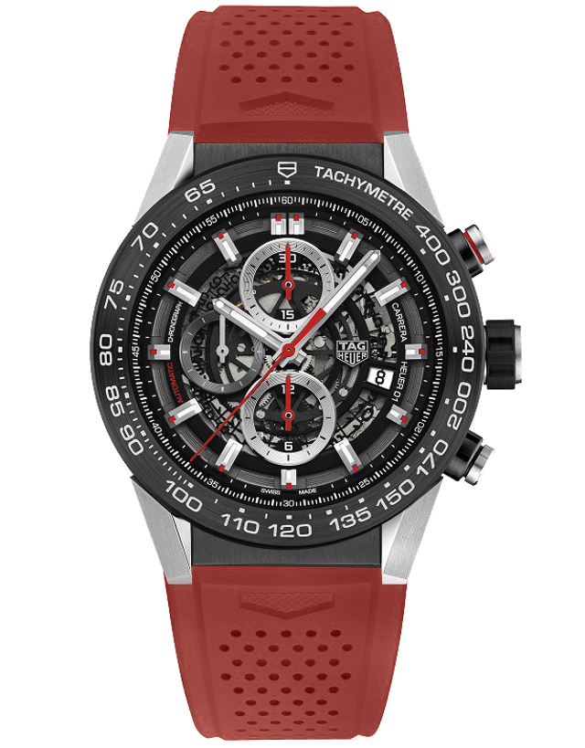 Tag Heuer Carrera Calibre Heuer 01 Automatic Skeleton Dial Red Strap Men's Watch