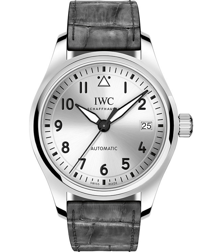 IWC PILOT'S AUTOMATIC 36MM SILVER DIAL GREY ALLIGATOR STRAP UNISEX WATCH