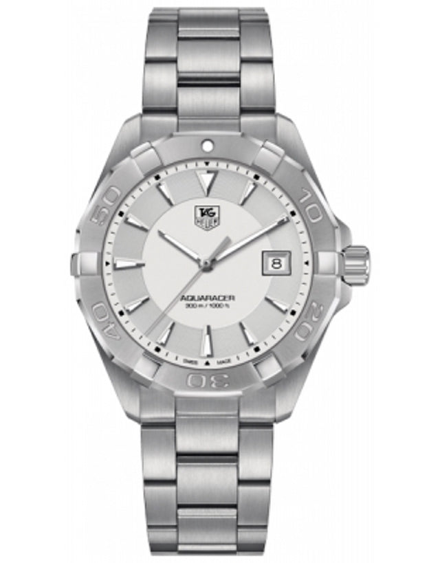 TAG HEUER AQUARACER 300M 40.5MM SILVER DIAL STEEL MEN'S WATCH