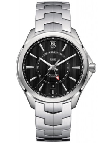 TAG HEUER LINK AUTOMATIC GMT BLACK DIAL STEEL MEN'S WATCH