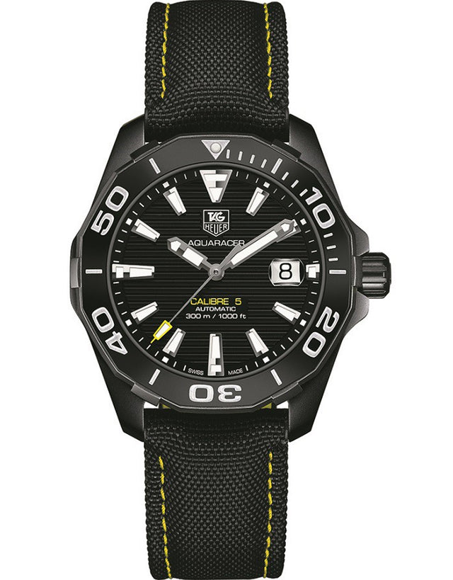 TAG HEUER AQUARACER 300M AUTOMATIC CALIBRE 5 BLACK PVD STEEL MEN'S WATCH