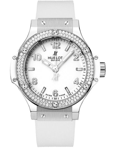 Hublot Big Bang 38mm Diamond Bezel White Strap Women's Watch