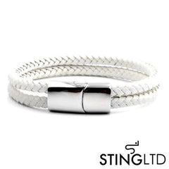 Double Plaited White Leather Bracelet