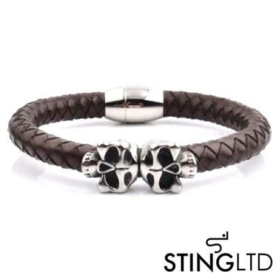 Brown Plaited Skull Stainless Steel Leather Bracelet
