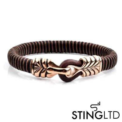Brown Rose Gold Plated Stainless Steel Detail Leather Bracelet
