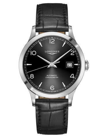 Longines Record Black Dial Black Leather Men's Watch