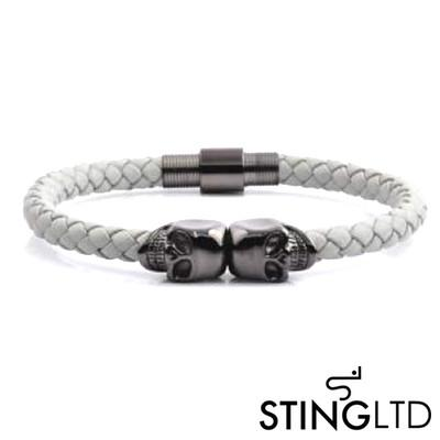 White Plaited  Gunmetal Skull Stainless Steel Leather Bracelet