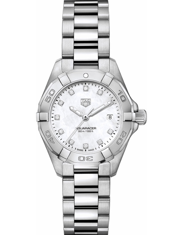 TAG HEUER AQUARACER LADY 300M 27MM MOTHER OF PEARL DIAMOND DIAL WOMEN'S WATCH