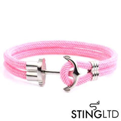 Pink Anchor Stainless Steel Rope Bracelet