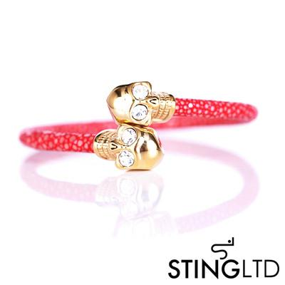 Red Thin Stingray Leather Gold Plated Skull Stainless Steel Bracelet
