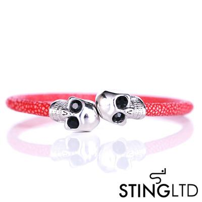 Red Thin Stingray Leather Skull Stainless Steel Bracelet