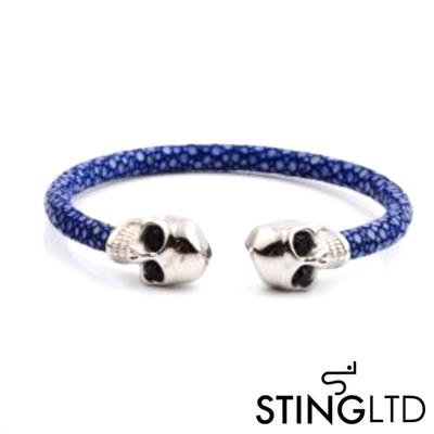 Navy Thin Stingray Leather Skull Stainless Steel Bracelet