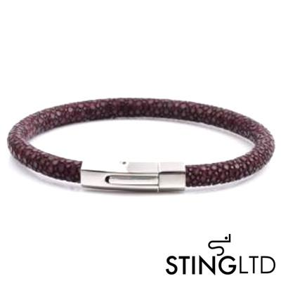 Purple Stingray Leather Stainless Steel Bracelet