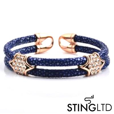 Double Navy Stingray Leather Rose Gold Plated With Crystal Detail Stainless Steel Bracelet