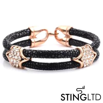 Double Black Stingray Leather Rose Gold Plated With Crystal Detail Stainless Steel Bracelet