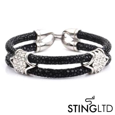 Double Black Stingray Leather With Crystal Detail Stainless Steel Bracelet