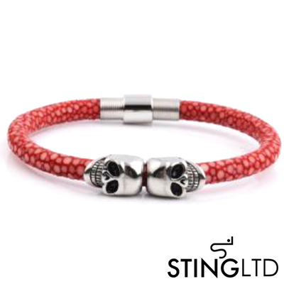Red Stingray Leather Skull Stainless Steel Bracelet