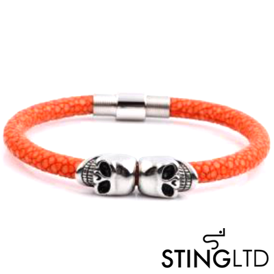 Orange Stingray Leather Skull Stainless Steel Bracelet