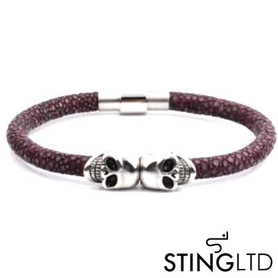 Purple Stingray Leather Skull Stainless Steel Bracelet