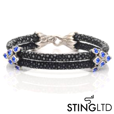 Double Black Stingray Leather With Blue Crystal Detail Stainless Steel Bracelet