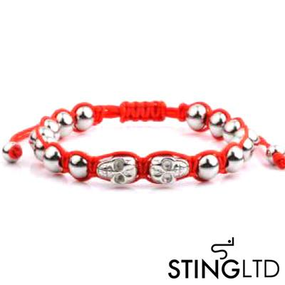Red Skull Stainless Steel Beaded Macrame Bracelet Bracelet
