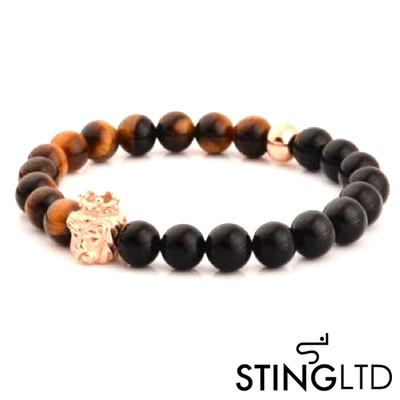 Onyx and Tigers Eye Rose Gold Plated Loin Stainless Steel Charm Beaded Bracelet