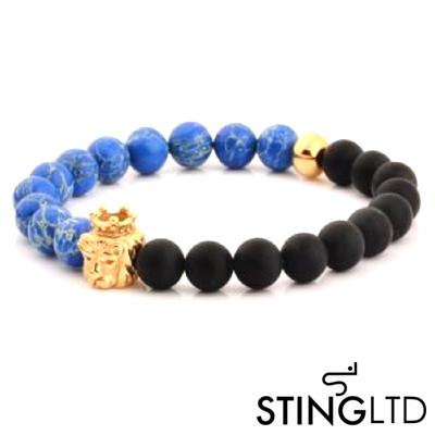 Natural Blue Sea Stone and Matt Onyx Gold Plated Lion Stainless Steel Charm Beaded Bracelet