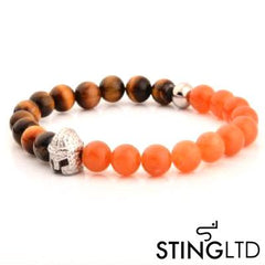 Tigers Eye and Carnelian Orange Barbute Stainless Steel Charm Beaded Bracelet