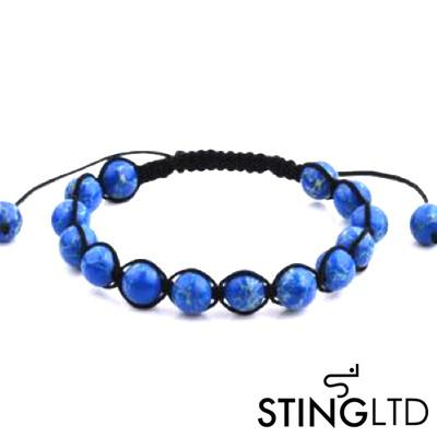 Natural Blue Sea Stone Macrame Beaded Bracelet