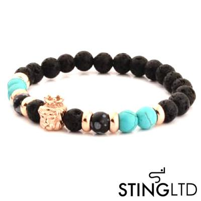 Lava Rock and Turquoise, Labradorite Larvikite Rose Gold Plated Lion Stainless Steel Beaded Bracelet