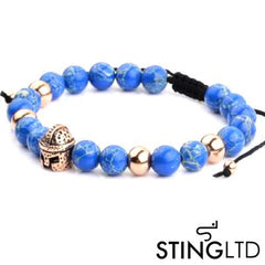 Natural Blue Sea Stone Rose Gold Plated Barbute Helmet Stainless Steel Charm Beaded Macrame Bracelet