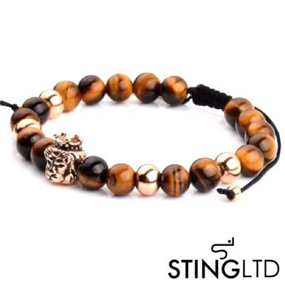 Tigers Eye Rose Gold Plated Lion Stainless Steel Charm  Beaded Macrame Bracelet